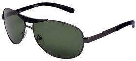 Ivy Vacker Glass Lens Gunmetal Green Rectangular UV Protection Sunglasses for Men