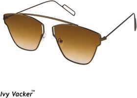 Ivy Vacker Men Brown Square UV Protected Aviator Full Rim Metal Sunglasses