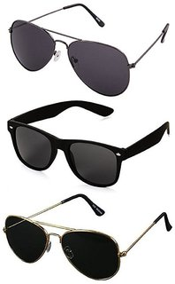 4fe0249fef Ivy Vacker UV Protected Unisex Black Aviator and Wayfarer Sunglasses Combo  of 3