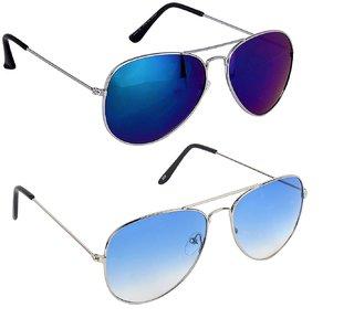 Ivy Vacker Combo of 2 UV Protected and Blue Mirrored Aviator Sunglasses