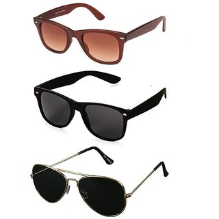 Ivy Vacker Black UV Protected Unisex Full Rim Aviator Sunglasses (2 Wayfarers Free)
