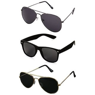 2470a5a20b59 Buy Ivy Vacker UV Protected Unisex Black Aviator and Wayfarer Sunglasses  Combo of 3 Online - Get 91% Off
