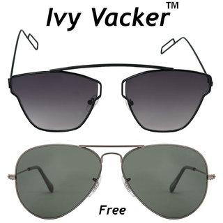 1af417f57446c Buy Ivy Vacker Combo of Black Rectangular and Aviator Sunglasses Online -  Get 90% Off