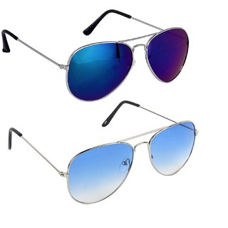 Ivy Vacker Combo of 2 UV Protected Blue Mirrored Aviator Sunglasses