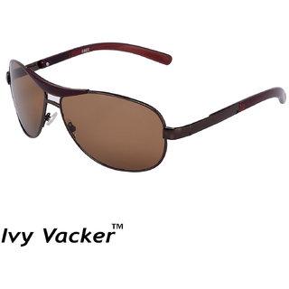 Ivy Vacker Glass Lens Brown Rectangular UV Protected Sunglasses for Men