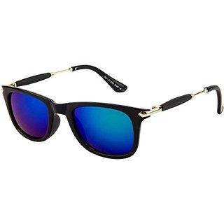 Ivy Vacker stylish blue mirrored wayfarer sunglasses
