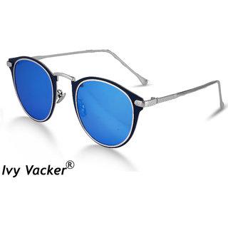 Ivy Vacker Metal Nose Bridge Retro  Luxurious Round Blue Mirrored Round Sunglasses