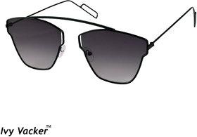 Ivy Vacker UV Protected Grey Square Black Aviator Sunglass