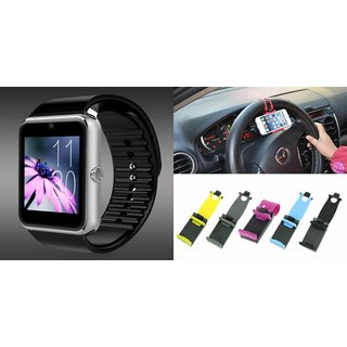 YSB GT08 Smart Watch And Sterring Holder for MICROMAX CANVAS JUICE 2