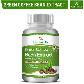 Leanhealth Natural  Green Coffee Bean Extract Pure (50 Cga) 800 Mg (60 Capsules) Weight Loss Supplement ( Pack of 1)