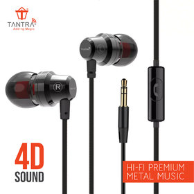 Tantra Trumpet T-500 Premium Metal Super Bass Wired Sports, In Ear Earphones with Mic and Remote Control