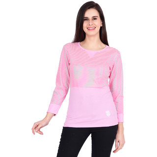 SBO Fashion Pink Color, Striped, Full Sleeve, Trendy T-Shirt 5259Pink