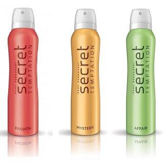 Secret Temptation Mystery Affair Deodorant Pack of 3 For-Women(150-ML each)