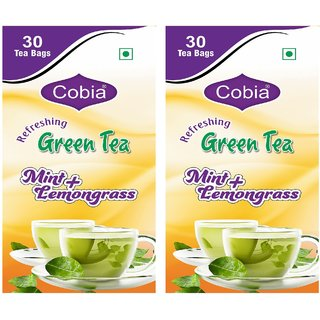 Cobia Green Tea (Mint + Lemongrass) 30 Tea Bags Pack Of 2