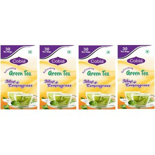 Cobia Green Tea (Mint + Lemongrass) 30 Tea Bags Pack Of 4