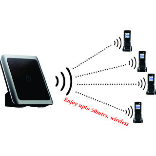 SAGEMCOM-4 Wireless INTERCOM Cordless Phone with Base Range of 50 Meters Also Support BSNL/MTNL LINE (Black)