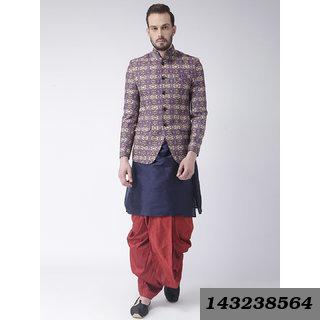 Printed Regular Fit Men'S Multicolor 3Pcs Kurta Dhoti Blazer