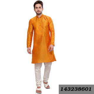 Casual Plain Gold Silk Medium Length Kurta & Churidar Set With Regular Collar (Regular Fit)