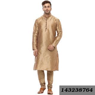 Golden Regular Fit Ethnic Kurta For Men's