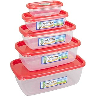 Nayasa 5pc- Easy Polypropylene Food Container (Pack Of 5 Red)