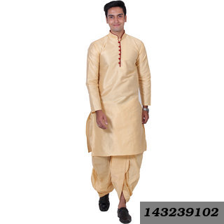 Men'S Silk Blend Dhoti Kurta Set