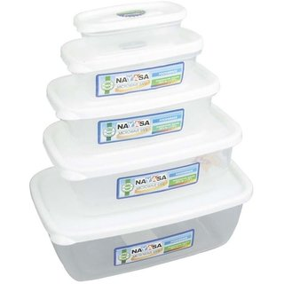 Nayasa Gold Dust Airtight - 1800 ml 1100 ml 680 ml 300 ml 150 ml Polypropylene Multi-purpose Storage Container (Pack of 5 White Clear)