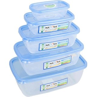 Nayasa Gold Dust Airtight - 1800 ml 1100 ml 680 ml 300 ml 150 ml Polypropylene Multi-purpose Storage Container (Pack of 5 Blue Clear)