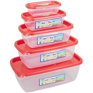 Nayasa Gold Dust Airtight - 1800 ml 1100 ml 680 ml 300 ml 150 ml Polypropylene Multi-purpose Storage Container (Pack of 5 Red Clear)