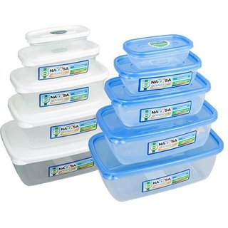 Nayasa Gold Dust Airtight - 1800 ml 1100 ml 680 ml 300 ml 150 ml Polypropylene Multi-purpose Storage Container (Pack of 10 White Blue Clear)