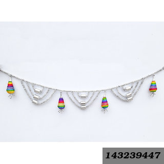 Decorative Door Hanging Toran Handcrafted With Silver Colorful Beads & Lattu For Diwali Home Decoration