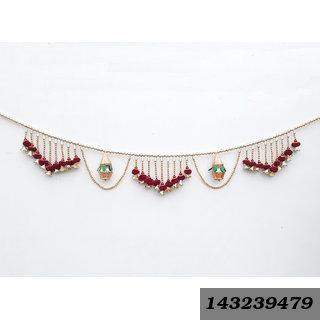 Decorative Door Hanging Kalash Toran Handcrafted With Colorful Beads For Diwali Home Decoration (2 Kalash)