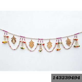 Decorative Bandhanwar Shubh Labh/ Ganesh Handcrafted With Colorful Beads For Diwali Home Decoration