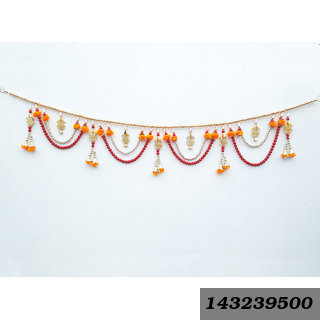 Decorative Door Hanging Kalash Toran Handcrafted With Golden/ Red Colorful Beads For Diwali Home Decoration
