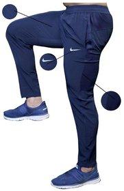 Nike Blue Lycra Track Pant Dryfit For Men's