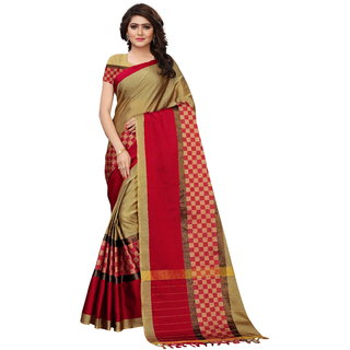 dd52ae35fc Buy Fabwomen Sarees Zari Work Beige And Red Coloured Kanjivaram Silk  Traditional Party Wear Women's Saree/Sari With Blouse Piece. Online - Get  68% Off