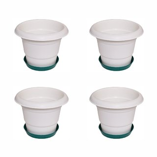 Crete Virgin Plastic White  Green Planter ( Set Of 4 Pcs )