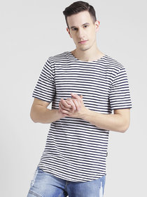 Rigo White Blue Stripe With Curved Hem Longline Half Sleeve T-Shirt For Men
