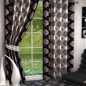 HomeStore-YEP Floral Polyester Suprimo Door Curtain(Pack of 2) - 7ft, Brown M-3