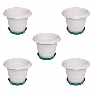 Crete Virgin Plastic White  Green Planter ( Set Of 5 Pcs )