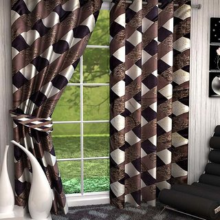 HomeStore-YEP Floral Polyester Suprimo Door Curtain(Pack of 2) - 7ft, Brown M-2