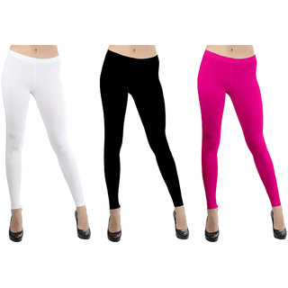 60a057fe3e471b Buy Lili Women's Stretch Viscose Ankle Length Leggings Pack of 3 Online -  Get 67% Off