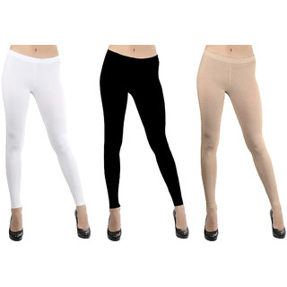 Omikka Women's Stretch Viscose Ankle Length Leggings Pack of 3