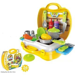 Toys Premium Quality Portable Suitcase Carry Case Kids Real Action Kitchen Play Set(Multicolor)