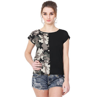 1e855b0f17b8c Buy MALLORY WINSTON Women Black with Army Print top. Online - Get 76% Off