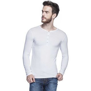 167da3148f99 Buy Tinted MenS Solid Henley Full Sleeve T-Shirt (TJ103CLF-WHITE) Online -  Get 15% Off