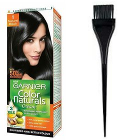Garnier Color Naturals (black) 1 pc and hair Color dye brush set of 2 pc