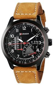 Curren Black Round Dial Brown Leather Strap Analog Quartz Formal Watch for Men