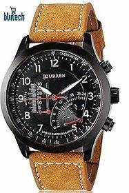 Curren Round Dial Brown Leather Strap Men Quartz Watch for Men