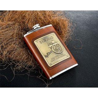 Aryshaa Stainless Brown Leatherite Hip Flask (Brown Leatherite) (Size 8oz 236ML)