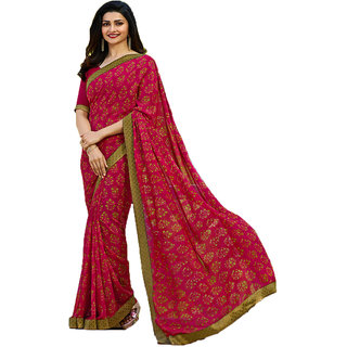 Indian Style Sarees New Arrivals Women's Pink Color Georgette Printed Saree With Blouse Bollywood Latest Designer Saree